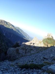 剱岳にて朝日に映る私達